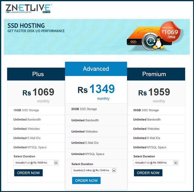 Znetlive Web Hosting Plans and Pricing