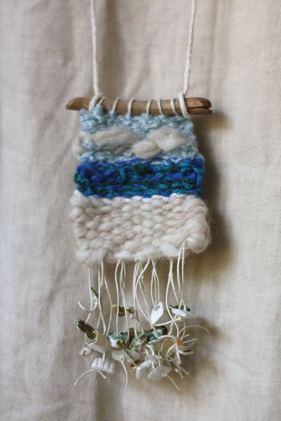 Hand woven Necklace natural wool neckless eco от GreenHouseGallery