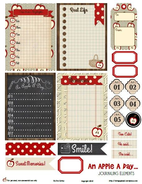 Free An Apple a Day Journal Cards and Labels for Project Life from Vintage Glam Studio