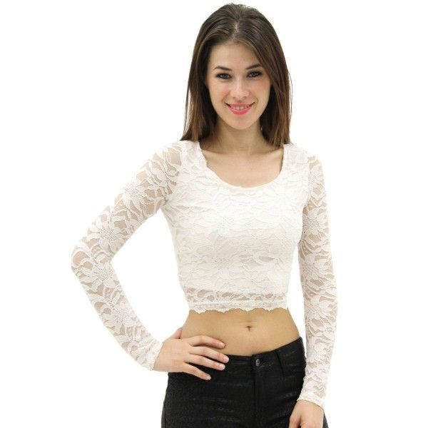 Floral Lace Crochet & Mesh Crew Neck Long Sleeves Crop Top ...