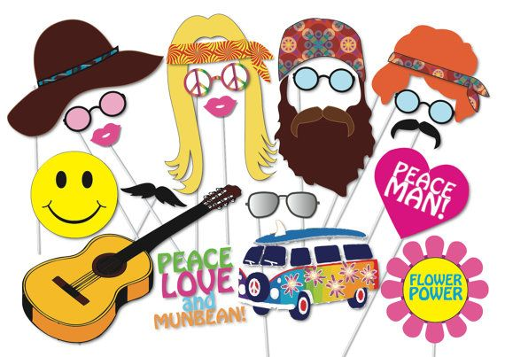 Hippie 60's 70's Party Photo booth Props Set - 20 Piece PRINTABLE - Groovy, peace Photo Booth Props
