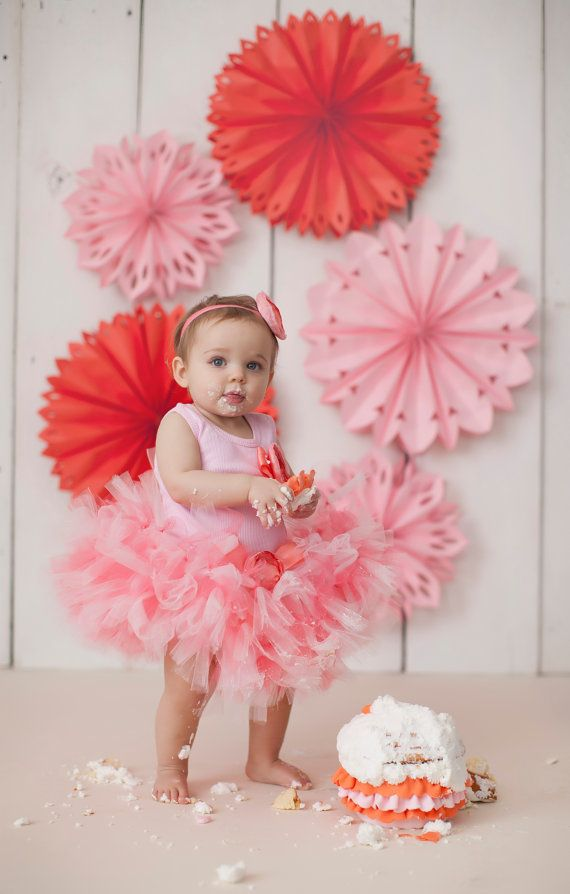 Sweet Coral Pink Tutu Dress Outfit for Baby Girls Birthday, Toddler Dresses, 1st Birthdays, Cake Smash Dress