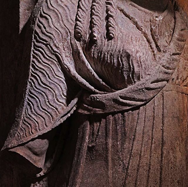 This image, released on Sept. 11, shows the expertly carved robe of one of the caryatids.