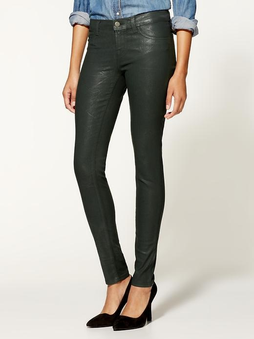 J Brand Textured Coated Mid Rise Jeans