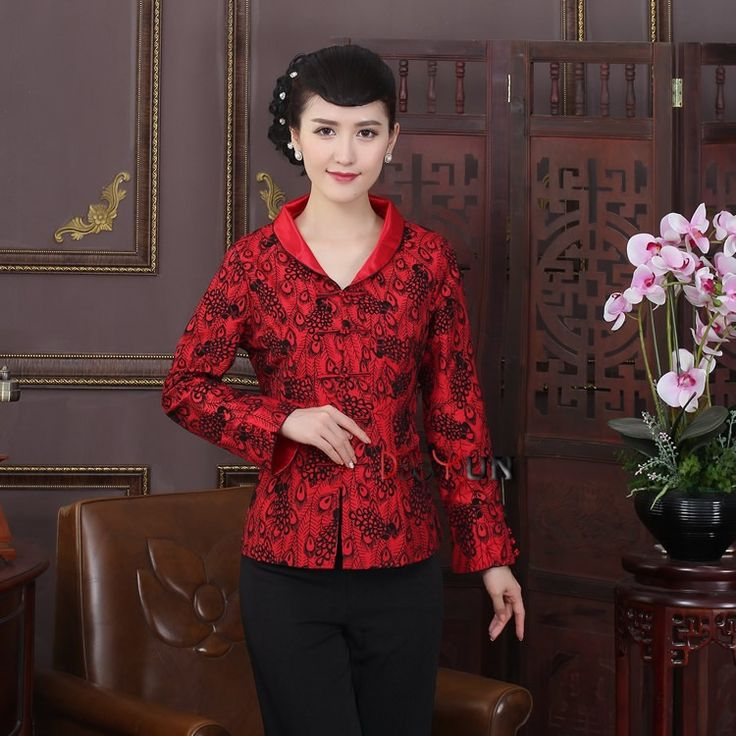 Pretty Open Neck Mandarin Collar Chinese Jacket - Feather - Chinese Jackets & Coats - Women