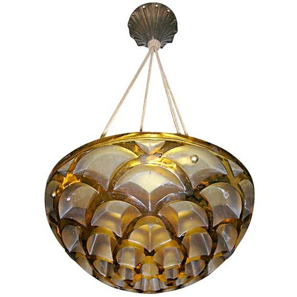 Rene Lalique Chandelier Rinceaux Pattern Created In 1926 Amber Glass Molded
