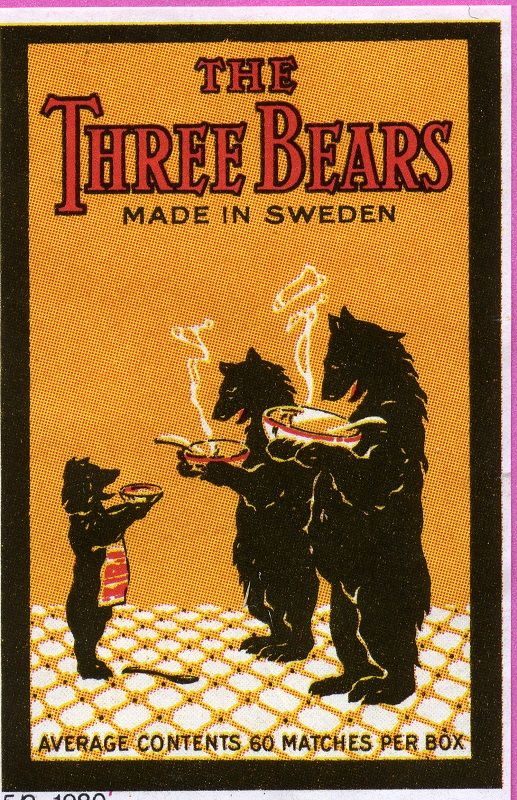 The Three Bears, Tulitikku Oy #labels #matches #bears #etiketit #tulitikkuetiketit