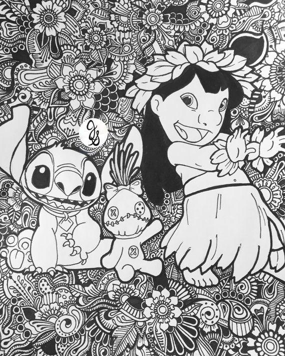 Diseño Floral de Lilo y Stitch