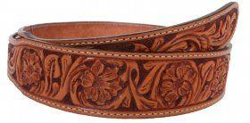 Mens - Hand-Tooled - Double J Saddlery Belt - B032-Natural Leather Floral Tooled Belt