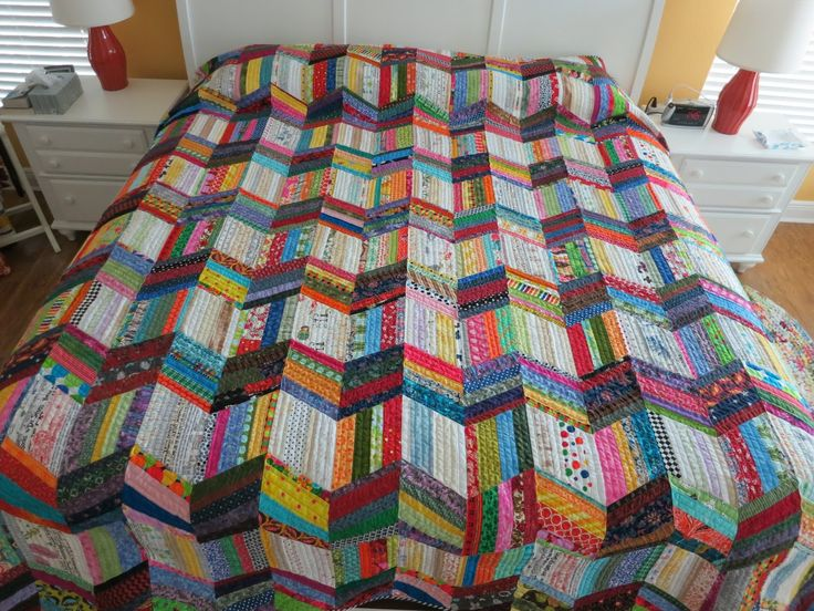 "Wiggle Me Colorful, 57"" X 65"" Dresden Color Wheel, 29"" X 29"" Bars Quilt, 61"" X 76"" The back of Bars Quilt, showing my least fa..."