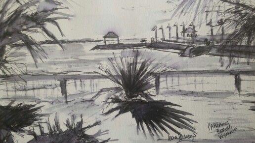 Ink & wash 14x21cm of Pandanus Beach, Wynnum