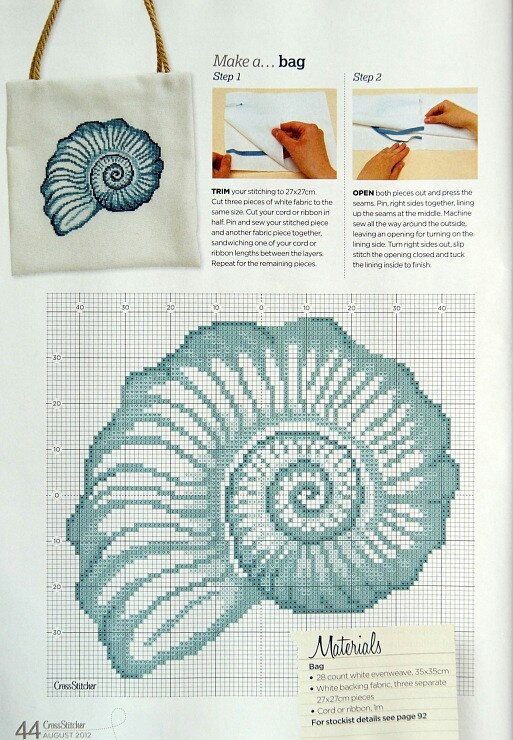 seashell cross-stitch