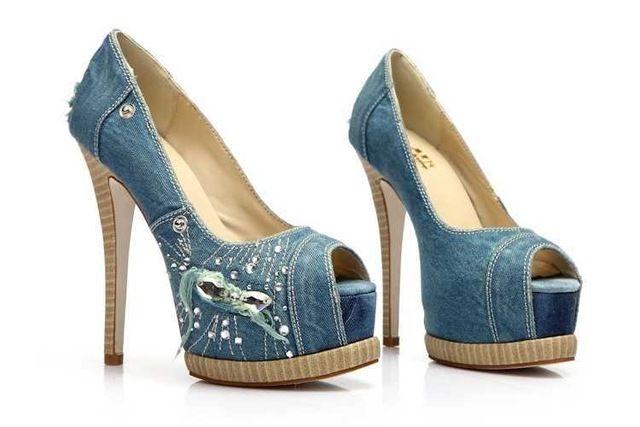 Mujer Primavera Verano Zapatos de Tacón Alto Cabeza de Pescado Jean de Mezclilla Con Cremallera Hebilla Impermeable Sandalias de Tacón Alto Envío Gratis Q344