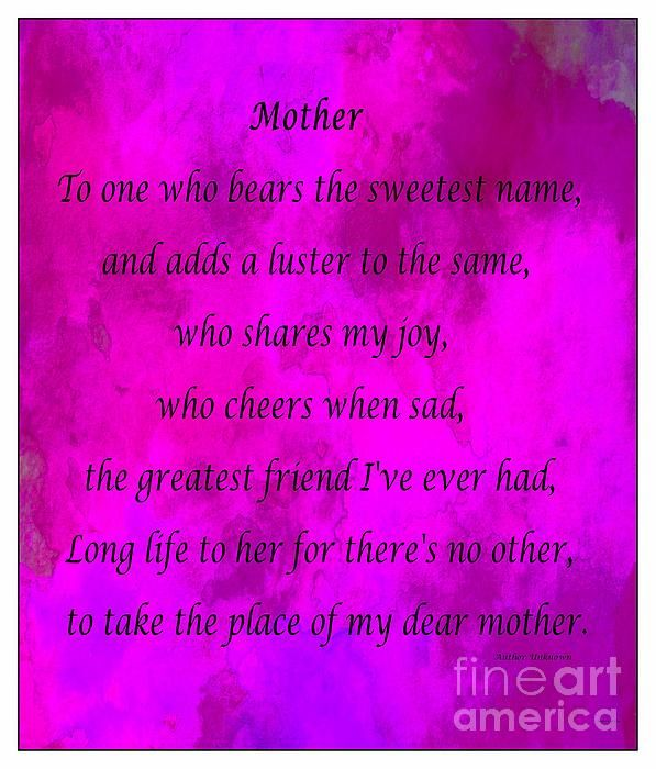 Mother - Magenta Watercolor by Barbara Griffin. A poem to mother.