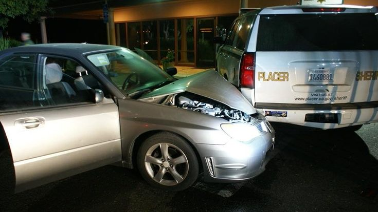 A man was arrested after slamming into parked a Placer County sheriff's SUV Sunday night, the Placer County Sheriff's Office said. A sergeant was at the Horseshoe Bar Road substation when he heard a very loud crash at about 7:30 p.m. When he went outside, he found a Subaru Impreza had plowed into his vehicle and moved it by around 6 feet.