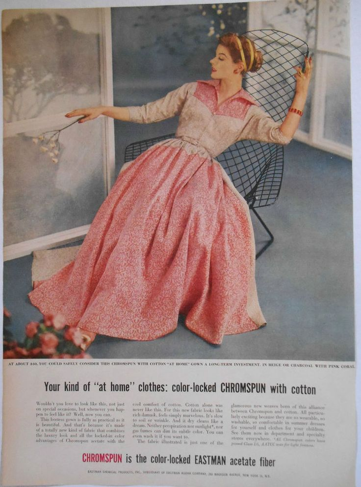 1954 ladies clothing AD Dress by Chromspun acetate fabric by Eastman Chemical in | eBay