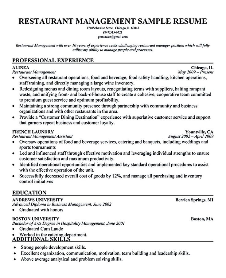 74 best resume images on Pinterest Productivity, Resume and Gym - restaurant manager resume sample