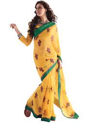 Yellow coloured saree for women by Ashika. Made from chiffon, this saree measures 5.5 m in length, and comes with unstitched blouse piece of 0.8 m.