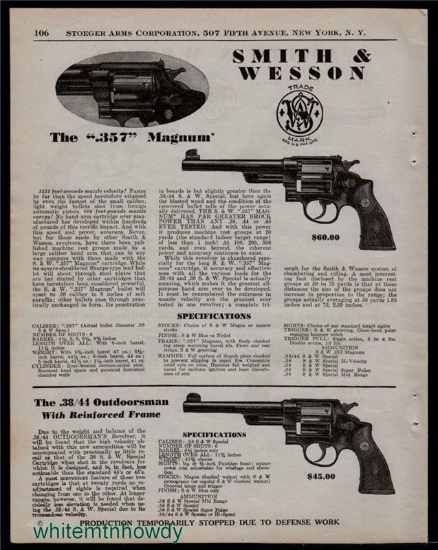 1942 SMITH & WESSON .357 Magnum and Outdoorsman AD : Other Collectibles at GunBroker.com