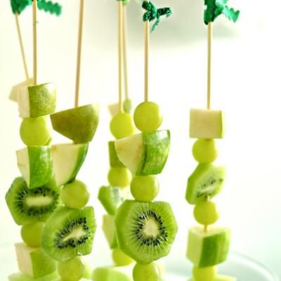 Grapes, kiwi, apple and pear - just some fruit kabob ideas for your St. Patty's cocktail hour