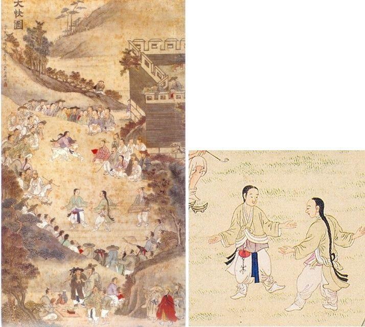 유숙 '대쾌도', 54×105cm, 조선후기(1846년)    고려 때까지 택견은 무인들의 전유물이었습니다. 하지만, 조선시대에 들어서면서부터는 온 백성의 민중 무예로 퍼져 나갔습니다. 조선 후기 화원 유숙의 '대쾌도' 라는 풍속도를 통해서도 그 사실을 알 수 있습니다. 어느 마을에 놀이판이 벌어졌습니다. 위에서는 씨름이 한창이고, 아래에서는 댕기 머리를 한 소년들이 택견 대결을 하고 있습니다. 사람들은 삼삼오오 모여 구경을 하고 있고요. 조선시대에 택견은 이렇게 단오나 백중 같은 명절 때 누구나 즐기는 '대중 스포츠'였던 것입니다. 이때부터 발동작까지 포함된 지금 형태의 택견이 서서히 완성되기 시작했고요.    사실 동양의 무예라고 하면, 전 세계 사람들에게는 쿵후가 더 익숙할 것입니다. 이소룡 같은 쿵푸 스타를 비롯해, '쿵푸팬더'라는 영화, 소림사까지 쿵푸는 택견보다 훨씬 더 대중적인 전통 무예입니다.