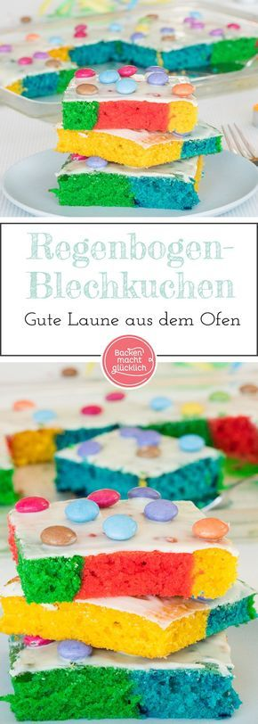 regenbogenkuchen vom blech kuchen blechkuchen backen. Black Bedroom Furniture Sets. Home Design Ideas