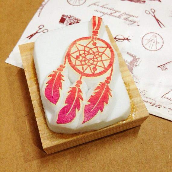 Dreamcatcher rubber stamp  dreamcatcher hand carved by DeerdayShop