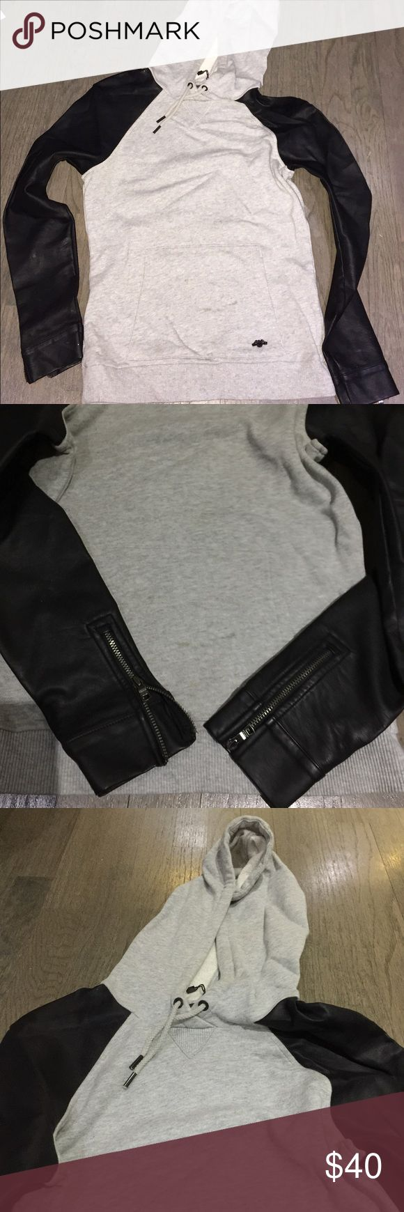 Selling this Armani Exchange Faux Leather sleeve hoodie on Poshmark! My username is: lmdavidsons1. #shopmycloset #poshmark #fashion #shopping #style #forsale #Armani Exchange #Tops