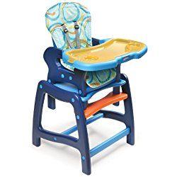 Badger Basket Envee Baby High Chair with Playtable Conversion, Orange/Blue