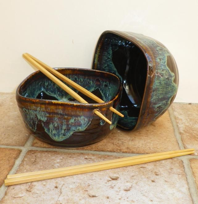 Noodle or rice bowls hand thrown in stoneware with chopsticks ceramic pottery