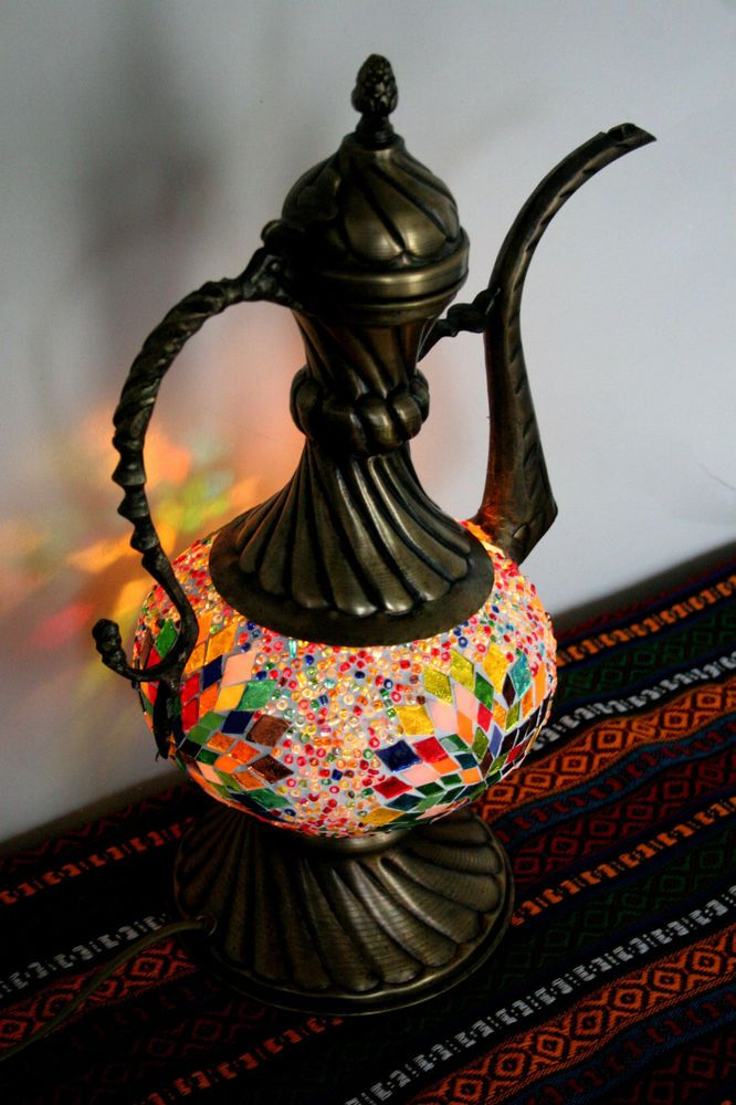 OTTOMAN TURKISH MOROCCAN MOSAIC EWER TABLE TOP BED SIDE LAMP NIGHT LIGHT. Super cute -