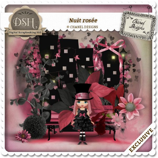Nuit rose : DSH: Digital Scrapbooking Hill - high quality CU and PU elements, exclusive products, kits, freebies and more...