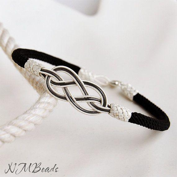 Fine Silver Love Knot Wish Bracelet in Black and by NMBeadsJewelry