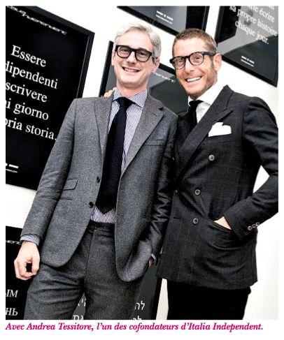 Lapo Elkann avec Andrea Tessitore, l'un des cofondateurs d'Italia Independent.