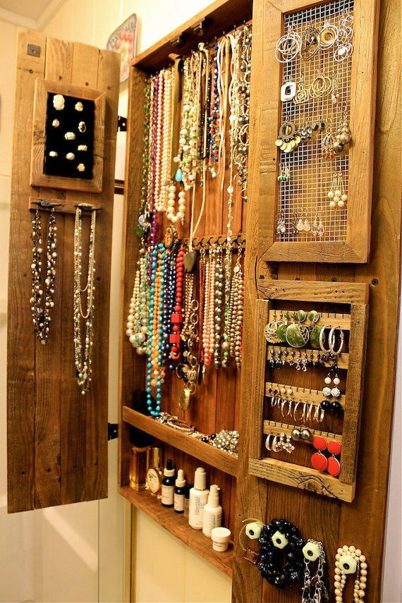 Jewelry Holder - Necklace - Cabinet - Wood - Wooden - Handmade - Furniture - 44 x 20 x 4.5