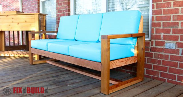 How to build a DIY Modern Outdoor Sofa with minimal tools from attractive cedar boards. See all the steps with a full How To Video and plans available.