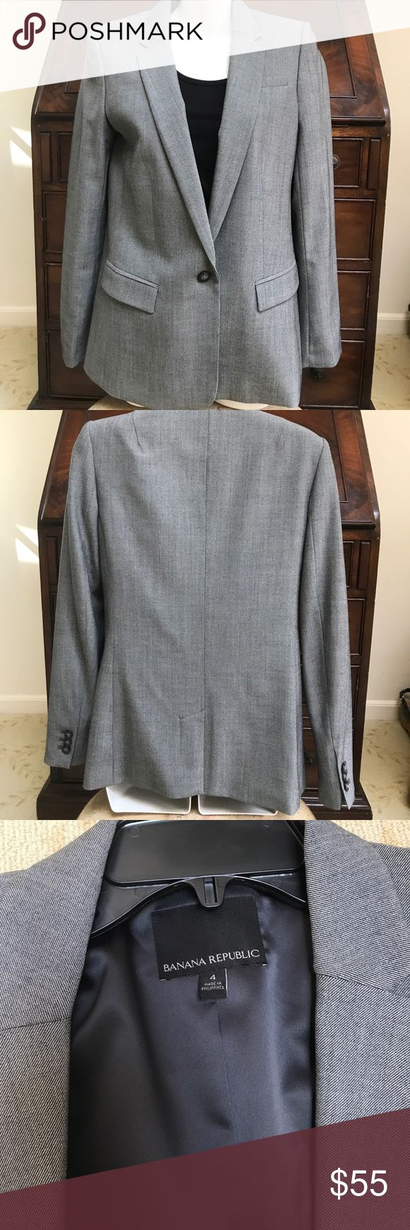 BANANA REPUBLIC BLAZER Worn 1x. Beautiful grey one button blazer. Dry clean only. Can dress up or with t shirt & jeans. Wool, spandex, elastane. Lining poly,spandex. Just don't wear  blazers that much anymore. Great going into fall & winter. Neutral color Banana Republic Jackets & Coats Blazers
