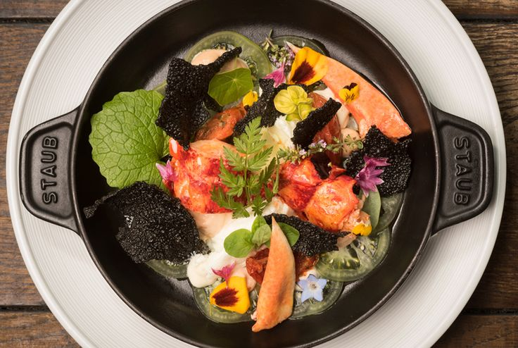 Whitby Lobster with Cod Roe Pâté, Lowna Dairy Goat's Curd and Squid Ink Crackers, Soft Herbs recipe by professional chef, Andrew Pern
