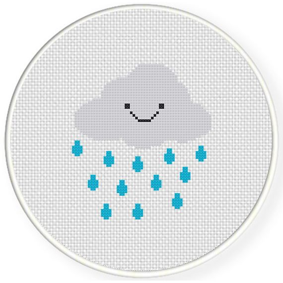 FREE for May 20th 2015 Only - Smiling Rain Cloud Cross Stitch Pattern