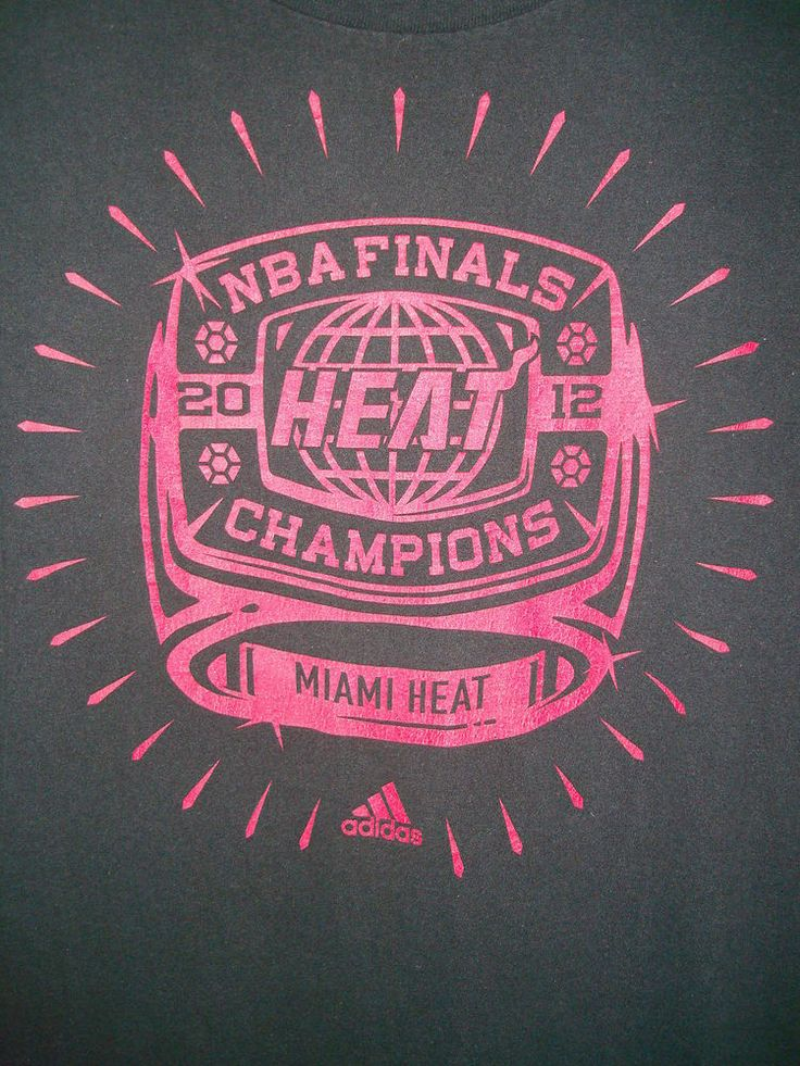 ADIDAS MIAMI HEAT 2012 NBA CHAMPIONS T SHIRT BLACK SIZE LARGE #ADIDAS #GraphicTee