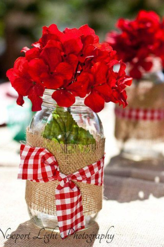 Burlap, geraniums, and a ball jar- cute combo