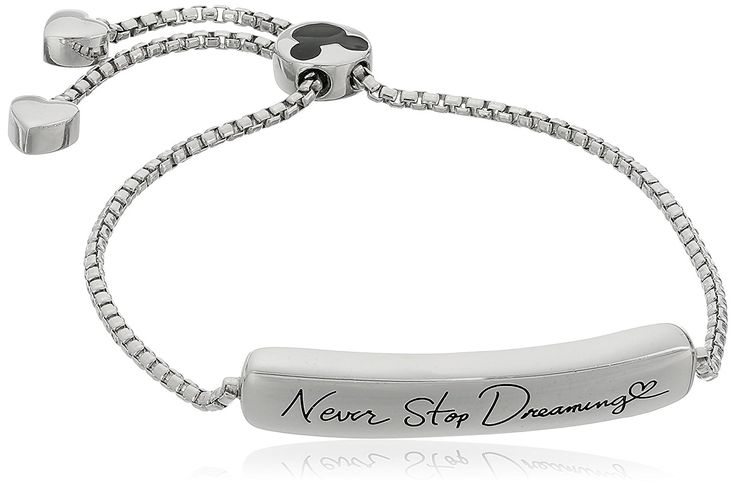 Disney Sterling Silver 'Never Stop Dreaming' Mickey Mouse Adjustable Bracelet, 2.25' *** Click image for more details.