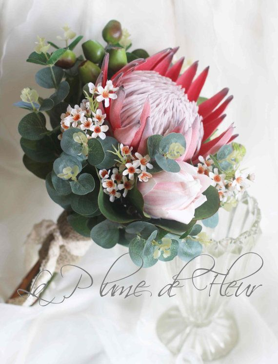 Bouquet Ideas  King protea, pink ice protea, Geraldton wax, gumnuts and Australian native foliage.
