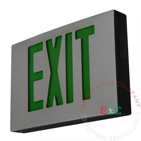 Cast Aluminum Green Led Exit Sign In 2020 Exit Sign Green Led It Cast