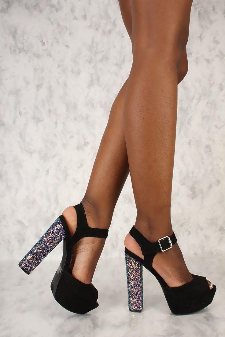 Sexy Black Peep Toe Platform Pump Sequin Chunky High Heels Faux Suede #platformhighheelspump #chunkyplatformpumps
