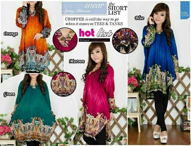 Tunik Astrid @ 75,000 Bahan : katun rayon All size fit XL  Fast Order : BB : 55D87A48 / Sms - WA : 081329963223