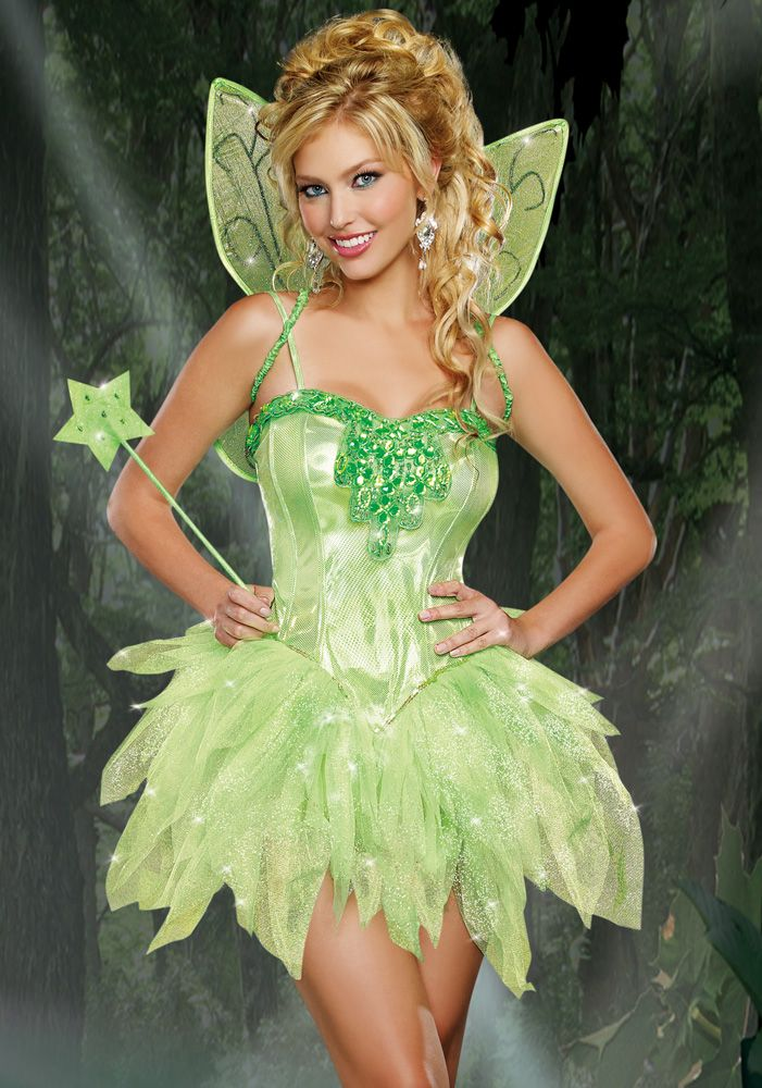 tinkerbell green fairy fancy dress costume peterpan disney princess party - Green Fairy Halloween Costume