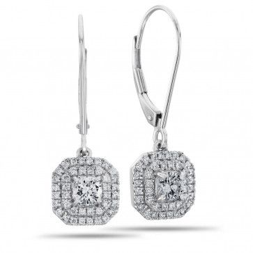 Halo Collection, 14k White Gold I1-I2+ Round Diamond Halo Lever Earrings, 3/4 ctw
