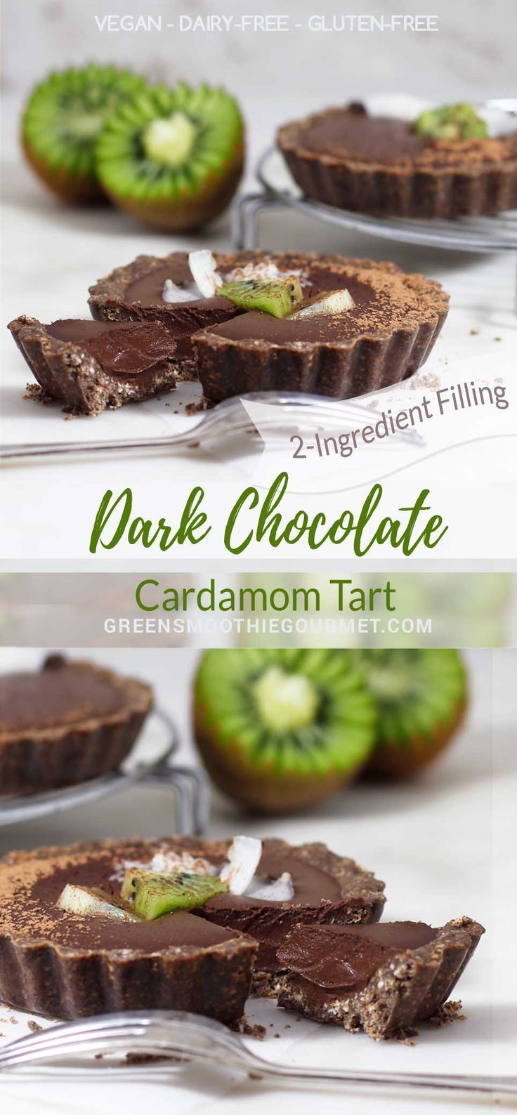 Dark Chocolate Cardamom No-Bake Tarts A rich vegan tart with a creamy 2-ingredient filling and a crust that tastes like a chocolate cookie #vegan #nobaketart #cardamom #chocolate