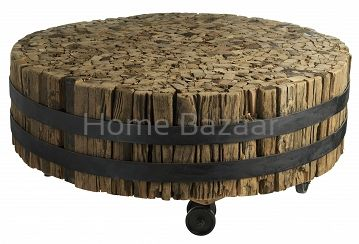 Wooden wheel coffee table  Stolik na kółkach